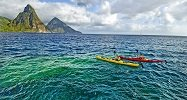 Kayaking with Piton Backdrop