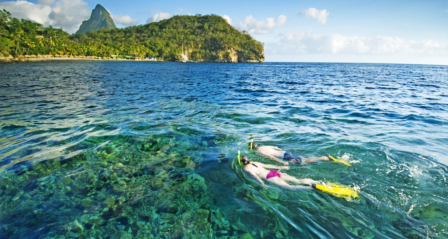 snorkelers at anse chastanet